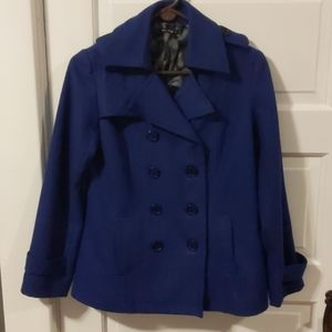Royal Blue Button Up Lined Pea Coat Size L